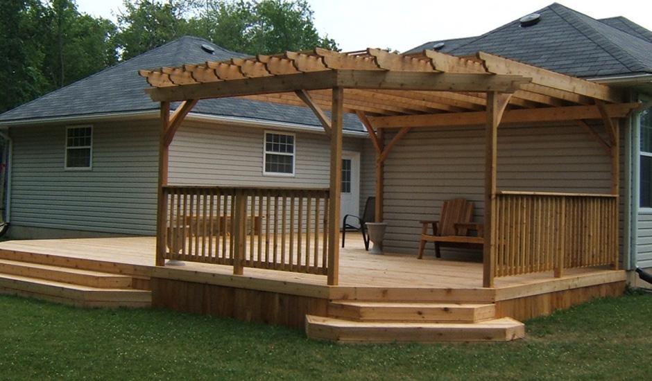 Custom cedar deck and pergola