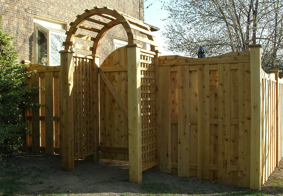Custom fence, gate and arbor
