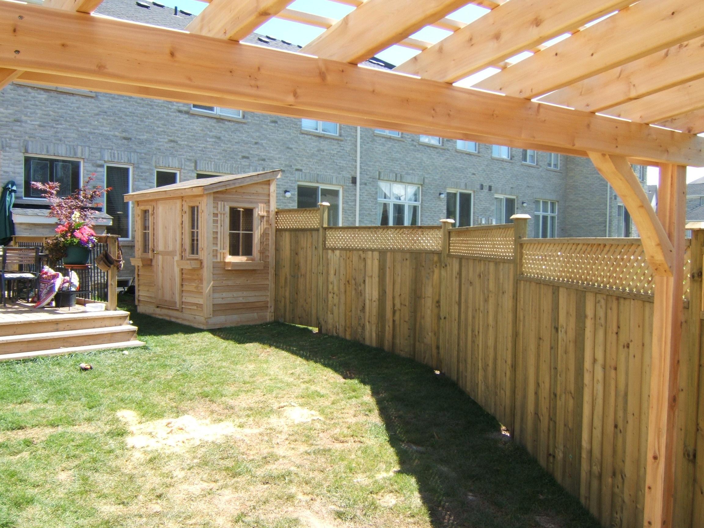 Pergola, fence & shed