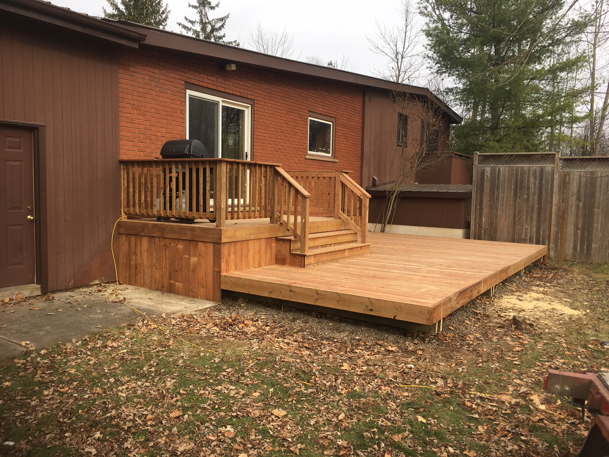 Pressure treated custom deck