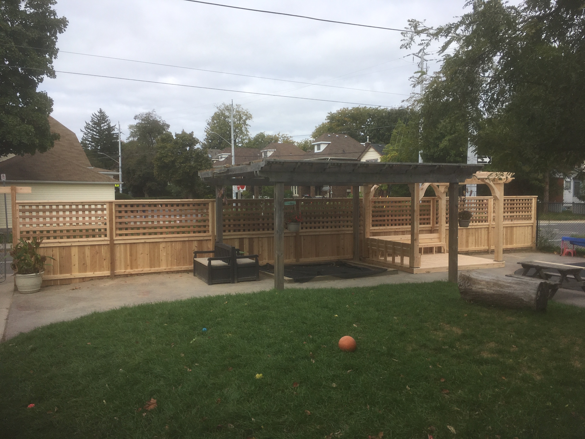Custom cedar fence, deck and pergola