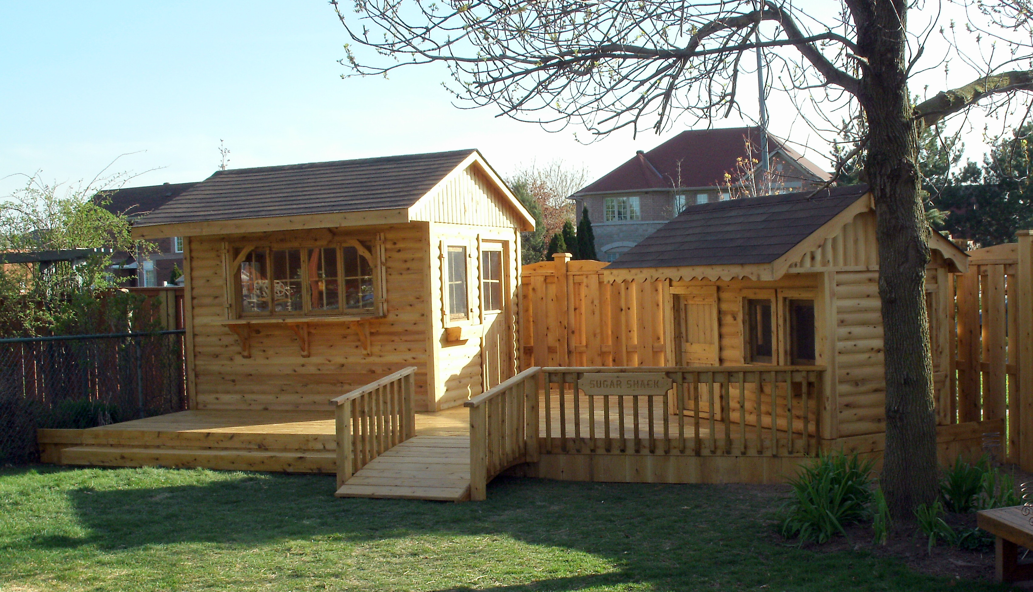 Cedar deck, bar and playhouse