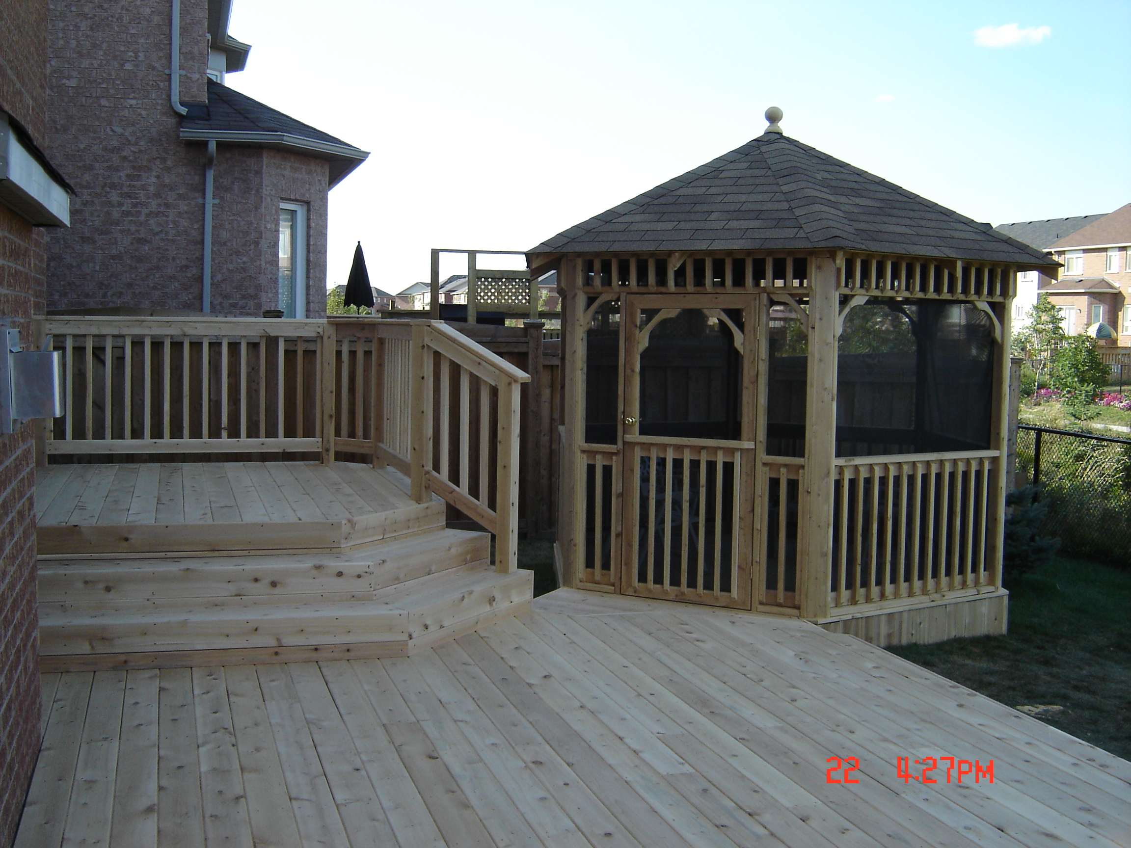 Custom cedar deck and gazebo