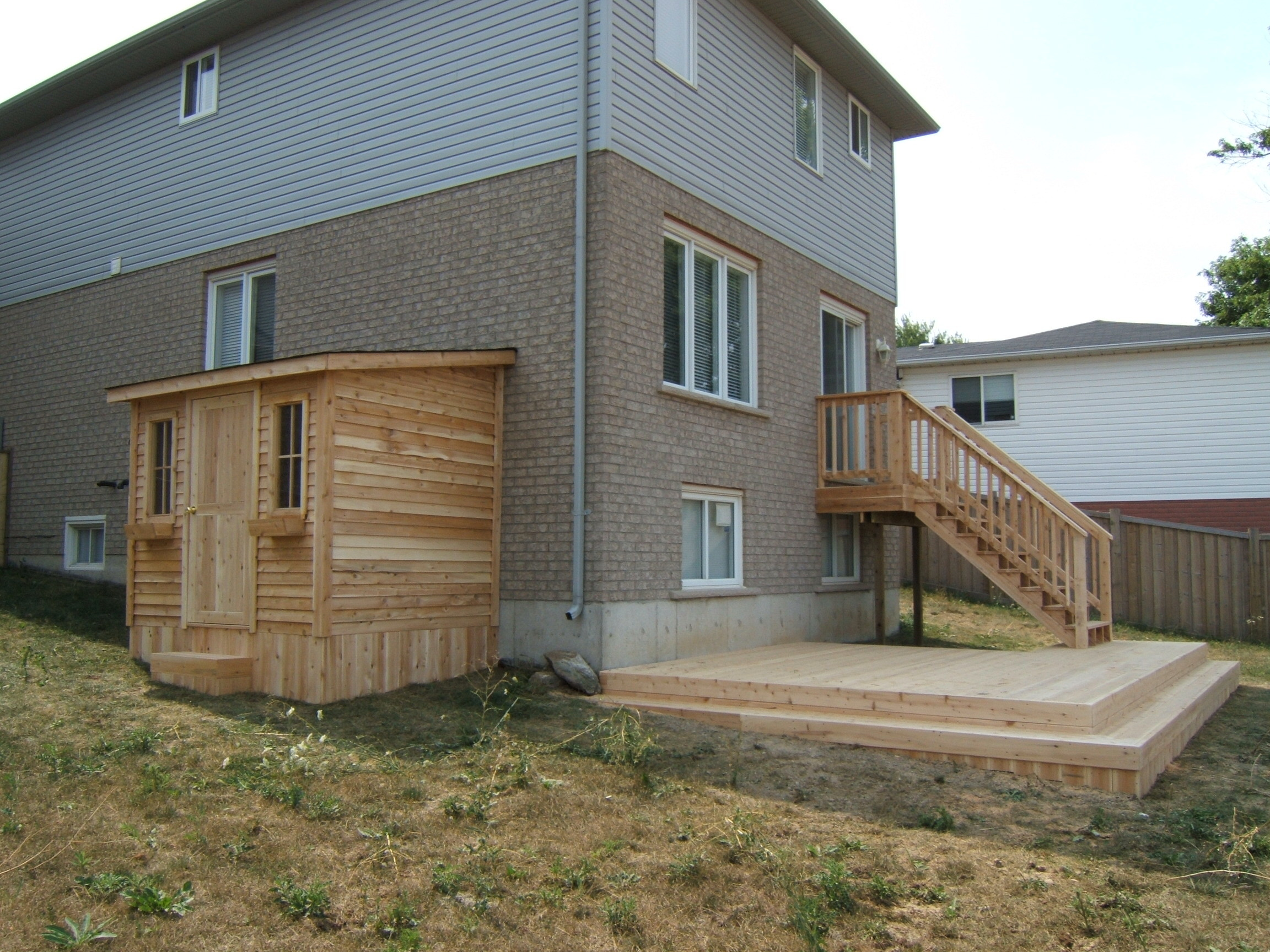 Cedar deck and shed Shed