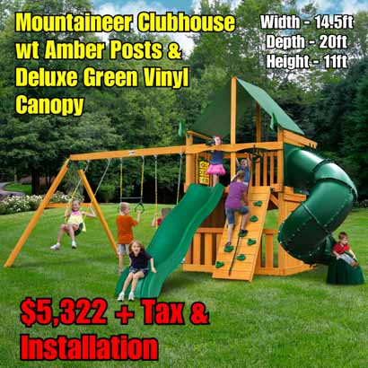 OLD Horizon Clubhouse wt Tube Slide New Mountaineer Clubhouse wt Amber Posts & Deluxe Green Vinyl Canopy NEW