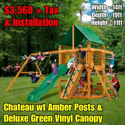 OLD Horizon (Green Canopy) NEW Chateau wt Amber Posts & Deluxe Green Vinyl Canopy NEW