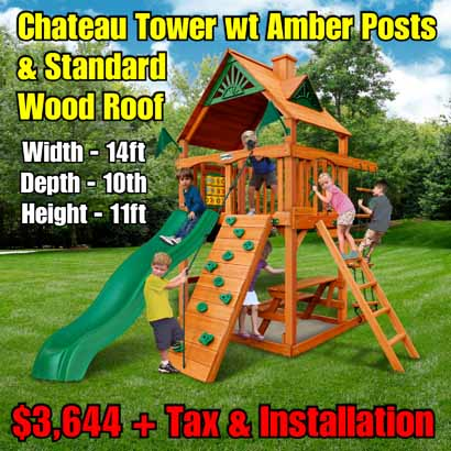 OLD Horizon Tower (Standard Wood Roof) NEW Chateau Tower wt Amber Posts & Standard Wood Roof NEW
