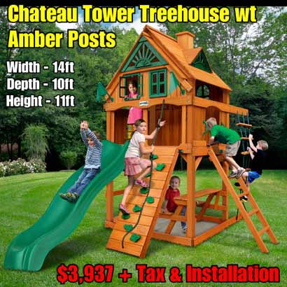 OLD Horizon Tower (Treehouse Add On) NEW Chateau Tower Treehouse wt Amber Posts NEW