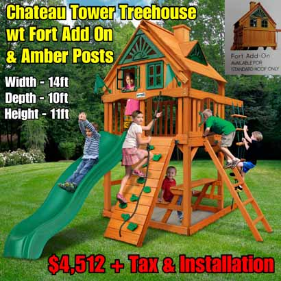 OLD Horizon Tower Treehouse wt Fort Add On NEW Chateau Tower Treehouse wt Fort Add On & Amber Posts NEW