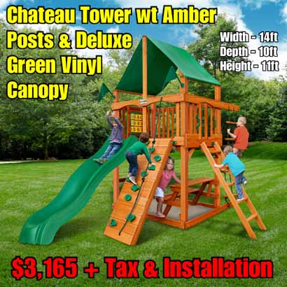 OLD Horizon Tower (Vinyl Canopy) NEW Chateau Tower wt Amber Posts & Deluxe Green Vinyl Canopy NEW