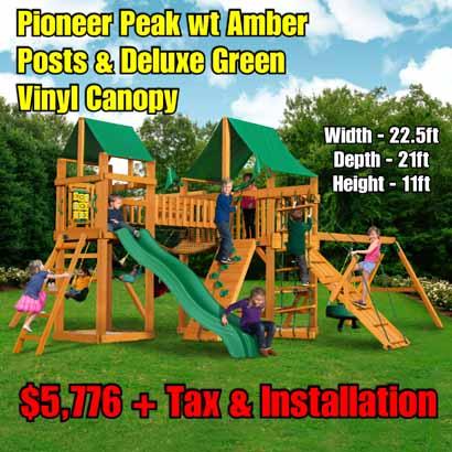 OLD Horizon wt Clatter Bridge & Tire Swing NEW Pioneer Peak wt Amber Posts & Deluxe Green Vinyl Canopy NEW