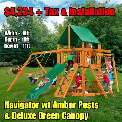 OLD Horizon wt Monkey Bars NEW Navigator wt Amber Posts & Deluxe Green Vinyl Canopy NEW