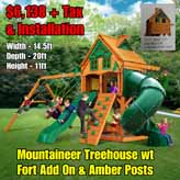 OLD Horizon wt Tube Slide NEW Mountaineer Treehouse wt Fort Add On & Amber Posts NEW
