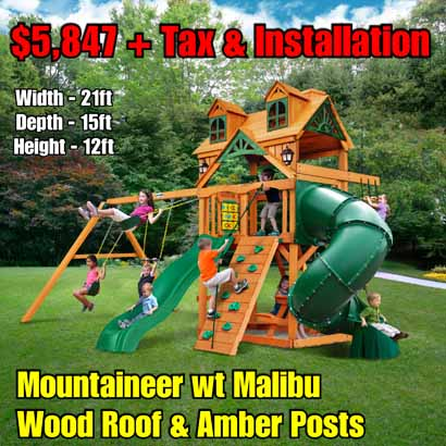 OLD Horizon wt Tube Slide (Riviera) NEW Mountaineer wt Malibu Wood Roof & Amber Posts NEW