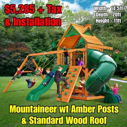 OLD Horizon wt Tube Slide (Standard Wood Roof) NEW Mountaineer wt Amber Posts & Standard Wood Roof NEW