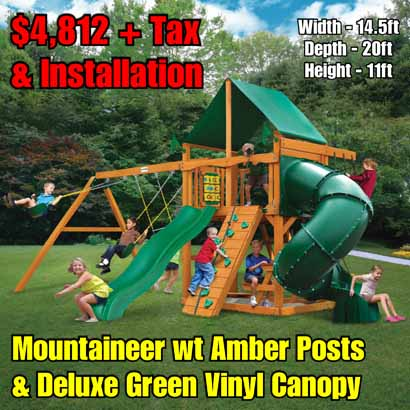 OLD Horizon wt Tube Slide (Vinyl Canopy) NEW Mountaineer wt Amber Posts & Deluxe Green Vinyl Canopy NEW
